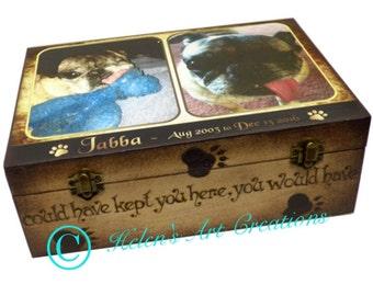 Dog Memorial Box, Pet Keepsake Box, Dog Urn, Wood Urn, Personalized Keepsake Box, Photo Keepsake Box, Custom Pet Photo, Dog Memorial