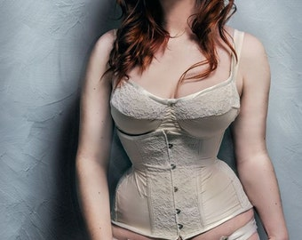 Ivory bridal under bust corset. Lingerie, fabric & colours of your choice. Made to measure