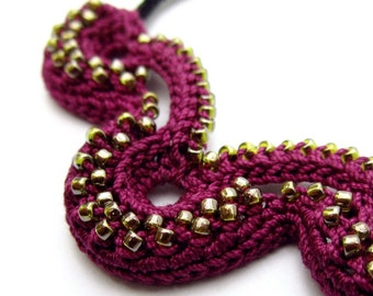 Beaded Crochet Necklace Irish Crochet Necklace Crochet Jewelry Beaded Jewelry Beaded Necklace Handmade Necklace Statement Necklace Purple
