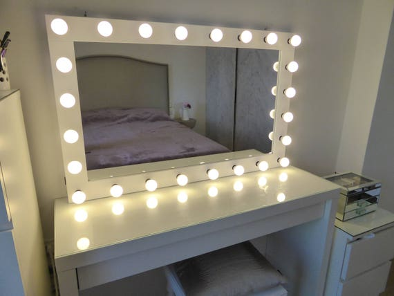 Xl hollywood vanity mirror 43x27 makeup mirror xl hollywood vanity mirror 43x27 makeup mirror with lights wall hangingfree standing perfect for ikea malm vanity bulbs not included mozeypictures Gallery