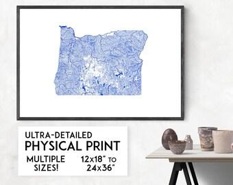 Waterways of Oregon print | Physical Oregon map print, Oregon poster, Oregon art, Oregon map art, Oregon wall art, Oregon gift, Portland map
