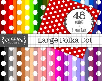 48 Polka Dot Digital Paper Pack, Polkadot Digital Paper, Instant Download, Commercial Use,  Rainbow Scrapbook Paper