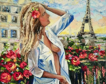 She dream...; original oil painting on canvas