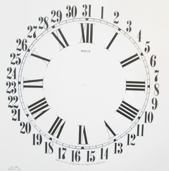 10 1/2 Inch Heavy Paper Reproduction Welch Calendar Clock Dial for your Antique / Vintage / New  Clock Projects - Art Projects - Steampunk