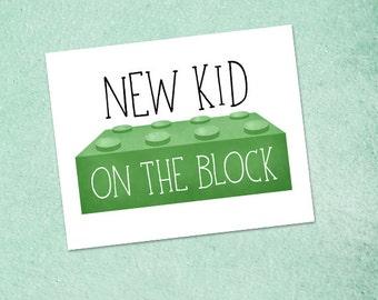 New Kid On The Block Digital 8x10 Printable Poster Pun Lego Blocks New Baby Birth Announcement Puns Cute Illustration Newborn Child Children