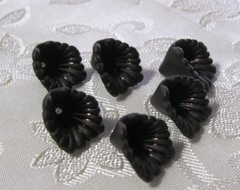 Black Lucite Acrylic Iris Flower Cap Beads 12mm 413