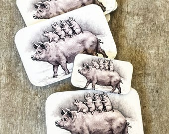 Pig tin SMALL,  Notions tin, treasure box, jewellery box