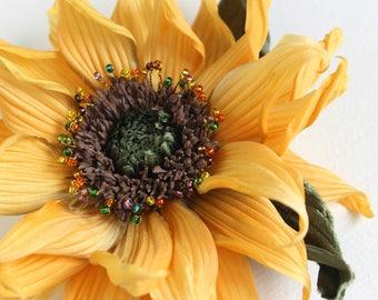 Silk sunflower brooch, sunflower wedding, sunflower jewellery, sunflower pin, fabric sunflower, silk flower corsage