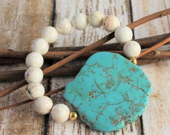 Magnesite Gemstone Bracelet - Statement Bracelet - Fashion Jewelry - Gemstones -  Turquoise Jewelry - Stretch Bracelet - White and Gold