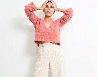 v neck sweater/ pink alpaca sweater/ tank short sweaters/ women's sweater/ v neck pullovers/ v neck jumper/ jersey top/ jersey pink/sweaters