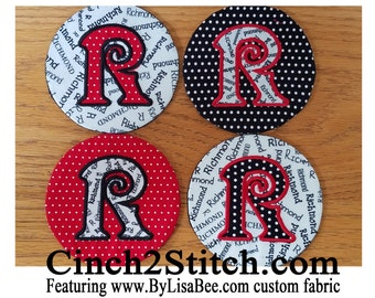 "Monogrammed Coasters with recycled CDs - 100% In The Hoop - Machine Embroidery Design Download (5"" x 7"" Hoop)"