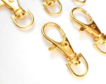 5 Gold Plated Swivel Key Ring Clasps - 16-SC-4