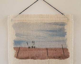Yucca on the Hill Burlap Wall Hanging