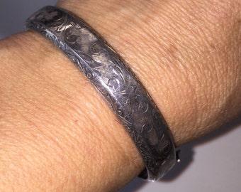 SALE Antique Hinged Bangle Bracelet Ornate Hand Etched Victorian Revival Signed Sterling Silver