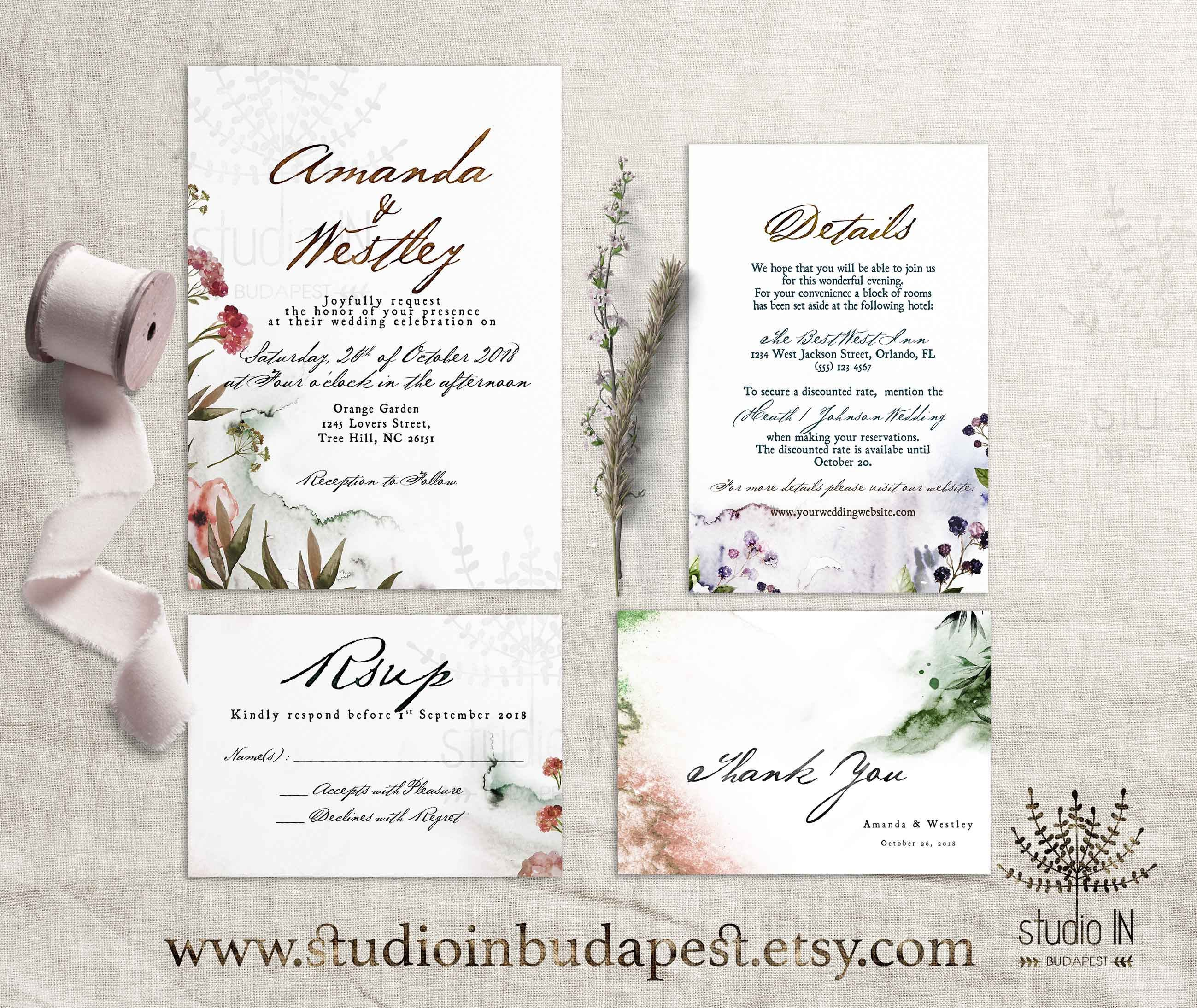 Autumn Wedding Invitation Forest wedding Woodland wedding