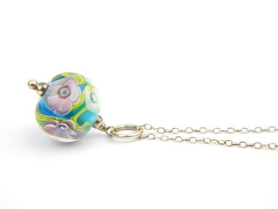 Art Glass Pendant - Medium Aqua and Purple Art Glass Bead Sterling Silver Pendant - Classic Collection