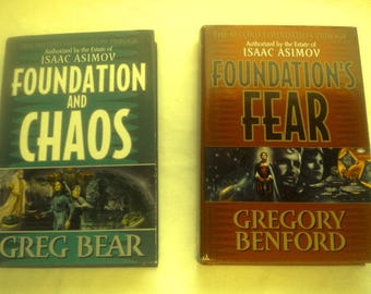 1997 Lot of 2 Isaac Asimov Hardcovers: Foundation and Chaos + Foundation's Fear, Harper Collins Publishers, NY
