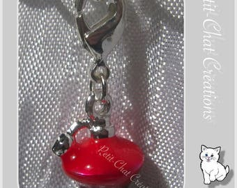1 CHARM ON LOBSTER RED 3D CHARM METAL PERFUME BOTTLE SILVER * V112A