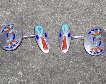 Wonderful Egyptian Revival Silver And Enameled Cufflinks Ankh And Lotus Flower  Hallmark