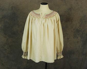 vintage 70s Peasant Blouse - 1970s Boho Smocked Cream Balloon Sleeve Poets Blouse Shirt Sz M L XL