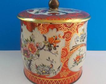 Beautuful Vintage Floral Tin, Orange Floral Vintage Tin, Floral Tin, Decorative Vintage Tin.
