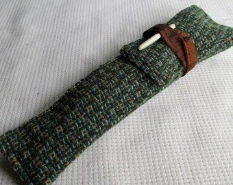 Wool Tweed and Silk Pen Sleeve, Pen Slip, Pen Case
