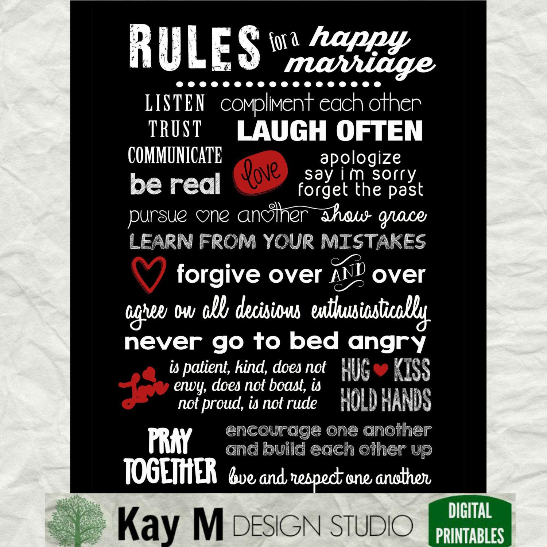 Regeln für eine glückliche Ehe-digitale Download 11 x 14. Die
