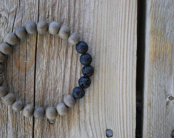 Mens essential oil diffuser bracelet yoga bracelet wood bracelet mala beads meditation beads yoga beads yoga jewelry graywood lava beads