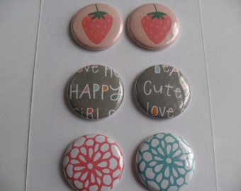 6 Strawberry fields Buttons, Flairs, Pins march INTO spring RELEASE