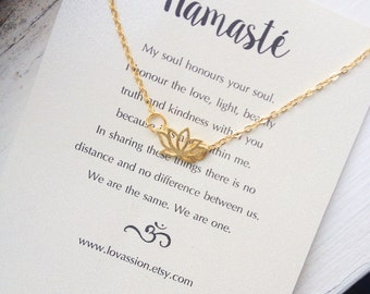 Lotus Necklace, gold lotus flower necklace, gold lotus necklace, tiny lotus necklace, namaste necklace, yoga jewelry, 14K gold