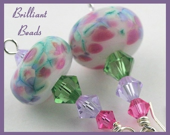 Rose, Violet, Green & Sterling Silver Handmade Lampwork Bead Earrings, SRAJD