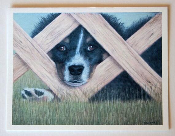 Puppy art, note card, blank greeting card, pastel pet portrait, Miniature Border Collie, dog art, fine art greeting cards