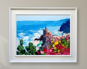 Vernazza Cinque Terre Painting Italy Painting Canvas Painting Seascape Painting Abstract Landscape Painting Italy Art Original Painting Oil