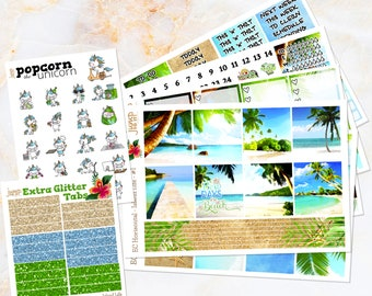 Island Life tropical beach set/ kit stickers -  for Erin Condren HORIZONTAL Planner - Buy all or one- vacation summer watercolor
