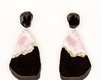 Pink and black pendant earrings, geode
