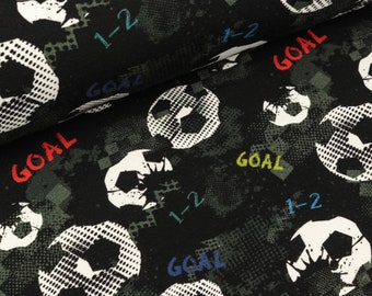 French Terry goal footballs on Black (14.90 EUR/meter)