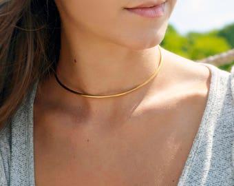 Gold Choker Necklace, Choker Cuff, Cuff Necklace, Choker Collar, Gold Neck Cuff