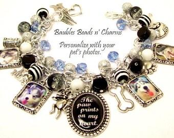 Personalized Dog Charm Bracelet Jewelry, Custom Dog Photo Charm Bracelet, Your Dog's Photos, Dog Memorial Charm Bracelet