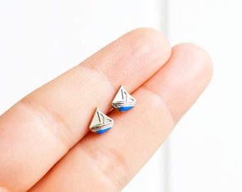 Boat Earrings, Sailboat Earrings, Handmade Mix and Match, Navy Nautical Posts Studs Kawaii Hipster Trendy Miniature Posts, Gifts for Her