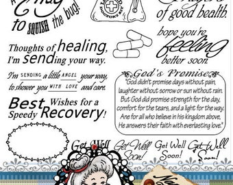 Get Well Soon Word Art Sentiments Instant Download Digital Stamps Digi Stamps ID:NV-WA0026 By Nana Vic