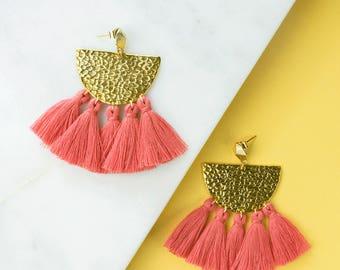 Pink Fringe Earrings, Flamingo Tassel Statement Earrings, Boho Earrings, Modern Earrings, Drop Earrings, Salmon Pink Earrings, Gifts for her
