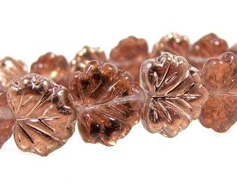 Czech  Glass Maple Leaf Beads, 10x13mm, Dusty Rose, Qty: 10