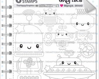 Robot Stamp, 80%OFF, COMMERCIAL USE, Digi Stamp, Robot Digistamp, Robot Digital Stamp, Kawaii Stamps, Cute Stamps, Toy Digital Stamps, Scrap