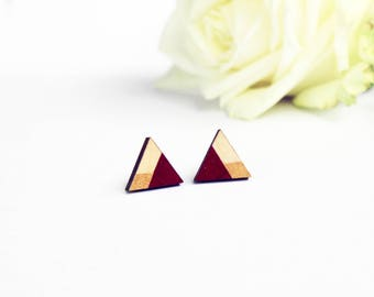 Triangle multicolor earrings, laser cut earrings, burgundy earrings, red earring, geometric earring stud, minimalist earrings, fall earrings
