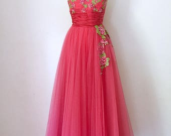 1950s vintage ball gown evening dress by Raoul Couture