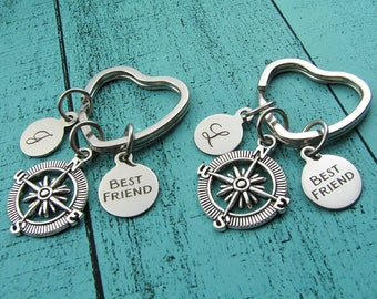 best friend gifts, graduation gift, long distance friendship, keychain set of 2, going away, unbiological sister, bff birthday gift, compass