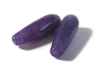 Two Purple Gemstone Beads, Matched Pair of Quartzite Long Drilled Teardrop Beads for Making Jewelry, 26mm x 8mm (Pt-Ja1)