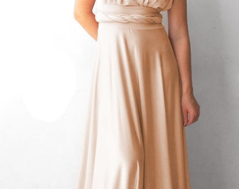 Bridesmaids dress Champagne  infinity dress  floor length   with tube top  +55 colors