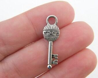 BULK 50 Key charms antique silver tone K32