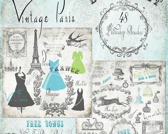 Vintage Paris Photoshop Brush Set -  Scrapbook / Photoshop Tools - 48 Brushes - Eiffel Tower France Paris - Instant Download - 48 .abr Files
